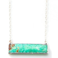 Chrysoprase Side Bar Necklace in SILVER