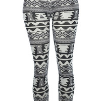 Bold Black and White Leggings Tribal Aztec Pattern- Yoga Leggings - Yoga Tights - Workout Leggings - Art Leggings - Running Leggings