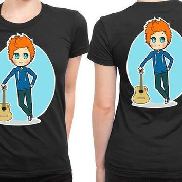 CREYP7V Ed Sheeran Cartoon Melancholis 2 Sided Womens T Shirt