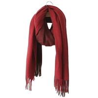 Burgundy and Red Color Block Fringe Scarf