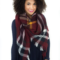 Cuddle Me By The Fire- Blanket Scarf Navy/Red