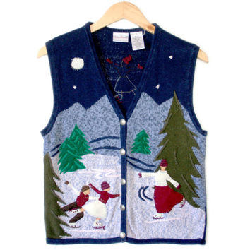 """""""Faceless Victorian Figure Skaters"""" Ugly Christmas Sweater Vest - The Ugly Sweater Shop"""