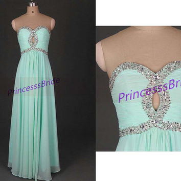 2014 long mint chiffon prom dresses with sequis,unique chic women gowns in hand made,cheap dress for party hot.