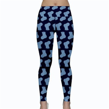 Blue Cute Baby Socks Illustration Pattern Yoga Leggings