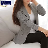 Vangull Women Blazer 2016 Spring Slim OL Work Wear Blazer Simple Vintage Plaid Notched Casual Vestidos Coat
