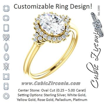 Cubic Zirconia Engagement Ring- The Winter (Customizable Oval Cut Cathedral-Halo Design with Tri-Cluster Round Accents)