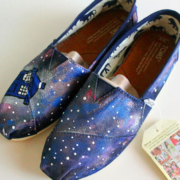 Custom Hand Painted Tardis & Galaxy Toms Shoes, Hand Painted Doctor Who Tardis Galaxy Canvas Sneakers