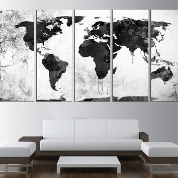 large World map wall art, watercolor world map canvas art, large canvas print, extra large wall art, watercolor world map canvas print t377