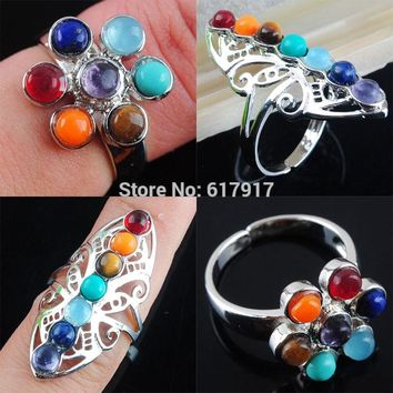Multicolor Natural Gem Stones Healing Ring