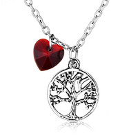 Once Upon a Time Tree Of Life Olive Silver Necklace Pendant