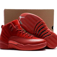 New Released Air Jordan 12 Retro Red Suede Basketball Shoes Men Women 12s Red Suede Sneakers High Quality With Shoes Box