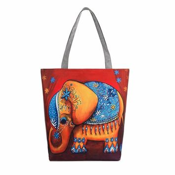 Elephant Print Canvas Tote