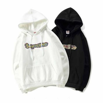 Supreme Long Sleeve Embroidery Hooded Sweater