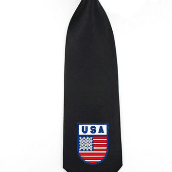 Embroidered usa flag shield independence day 4th of july patriotic mens tie necktie mens womens skinny tie