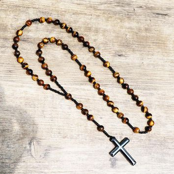 Tiger Eye Nature Stone Beads Hematite Cross Penant Tree of Life Charm Meditation Rosary Pendant Necklaces Men Women Jewelry