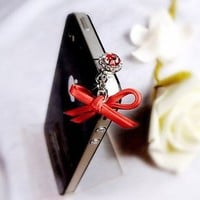 MobileCharmz! Tablet PC / Mobile Phone Headset Jack Leather Bow Charm Adapter for Apple, Samsung ,
