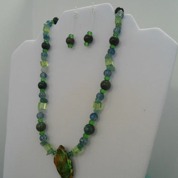 Green Statement necklace & earrings set: Jasper Necklace, Jade Necklace, Czech Glass Necklace, Jasper Pendant, Mothers Day