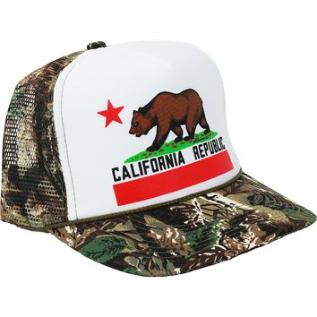 California Republic State Flag Snapback Hat Camo Style 2 Curve Bill - White Crown