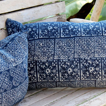 Hmong Indigo Batik Lumbar Pillow Decorative Throw Pillow Cushion Cover 6 Patterns