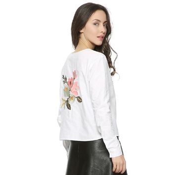White Women back sweet floral embroidery full cotton blouse hem bow O-neck long sleeve shirts ladies casual brand tops