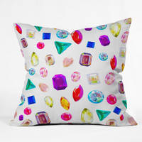Natalie Baca Rhinestone Reverie In White Outdoor Throw Pillow