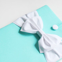13 inch MacBook Pro Air Retina Sleeve Cover,Exquisite home for your Laptop,SUPERIOR Shock Absorbent Foam Padding-Tiffany Blue Case,White Bow