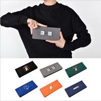 Personality Embroidered Longline Buckled Folding Wallet Clutch Purse with 4 Credit Card Slots