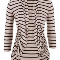 Cinch Front Striped Cardigan