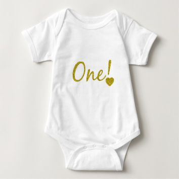 One Year Old Gold Glitter Baby Jersey Bodysuit