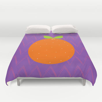 Orange Chevron Duvet Cover by Ariel Lark