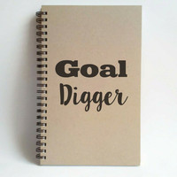 Goal digger, 5x8 writing journal, custom spiral notebook, handmade brown kraft memory book, small sketchbook, scrapbook, goals, writers