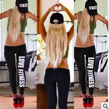 2014 New hot Love Fitness Print Black Soft Cotton Leggings Pants = 1929594308