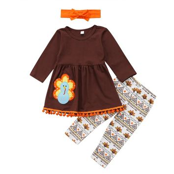 2017 New Arrival Baby Girls Boutique Outfits Thanksgiving Turkey Ruffle T-shirt Top Flower Pants Suits Baby Girls Clothes 2-6T