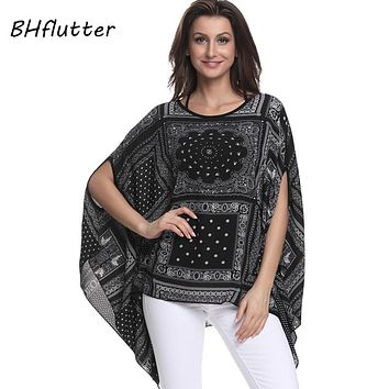 Women's Pretty Chiffon Batwing Blouse.   Gorgeous and Feminine.   Available in Sizes: 4XL, 5XL and 6XL.   In Multiple Colors and Patterns. ***FREE SHIPPING***