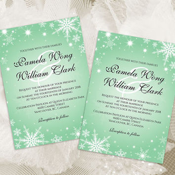 DIY Printable Wedding Invitation Card Template | Editable MS Word file | 5 x 7 | Instant Download | Winter White Snowflakes Green Mint