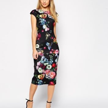 Ted Baker Cathina Pencil Dress in Oil Painting Print at asos.com