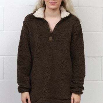 Snuggle is Real Sherpa Pullover w/ Pockets {Choc. Brown}
