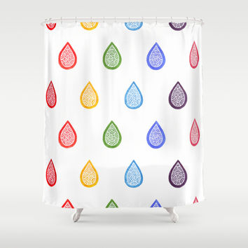 Rainbow raindrops Shower Curtain by Savousepate