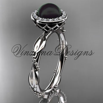 14kt white gold diamond leaf and vine, pearl, halo wedding ring, engagement ring VFBP301022