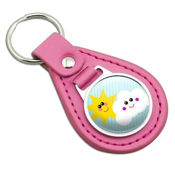 Smiling Sun and Cloud Pink Leather Keychain