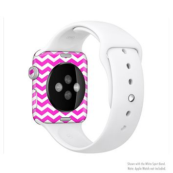 The Pink & White Chevron Pattern Full-Body Skin Set for the Apple Watch