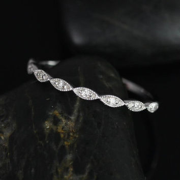 Ultra Petite Leah 14kt White Gold Vintage WITH Hand Milgrain Diamonds HALFWAY Eternity Band (Available in other metals)