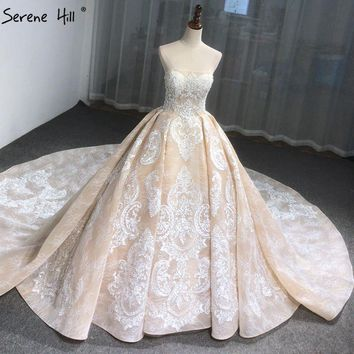 2018 Luxury Vintage Sleeveless Sexy Wedding Dresses High-end Appliques Sequined Fashion Bridal Gowns Real Photo Serene Hill