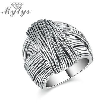 ac spbest Mytys New Arrival Geometric Hand Made Design Retro Collection Women Antique Ring Fashion Jewelry White Gold Color R1213