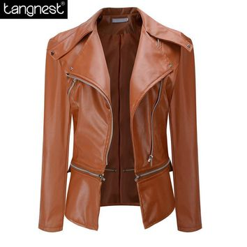 TANGNEST Brand Solid Oversized Slim PU Jacket 2017 NEW Zip Up Faux Leather Fashion Coats Spring Autumn Motorcycle Jackets WWP186