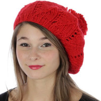 FALL WINTER Hand knitted beretHat with pompon