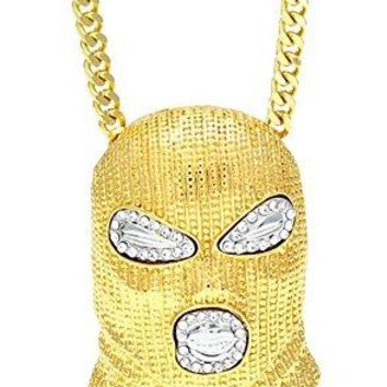 AUGUAU Xusamss Hip Hop Stainless Steel Crystal Mask Pendant Chain Necklace,27inches