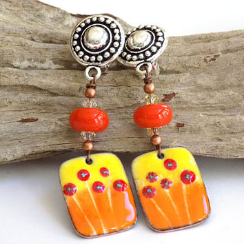 Clip on Earrings for Adults, Orange Earrings, Cute Earrings for Women, Handcrafted Jewelry, Long Drop Earrings, Boho Chic Jewelry