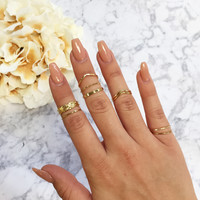 Tea Leaf Ring Set - Gold