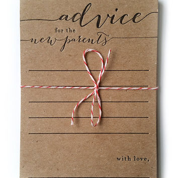 advice for the new parents - letterpress - pack of 10 - baby shower game - rustic - country - keepsake